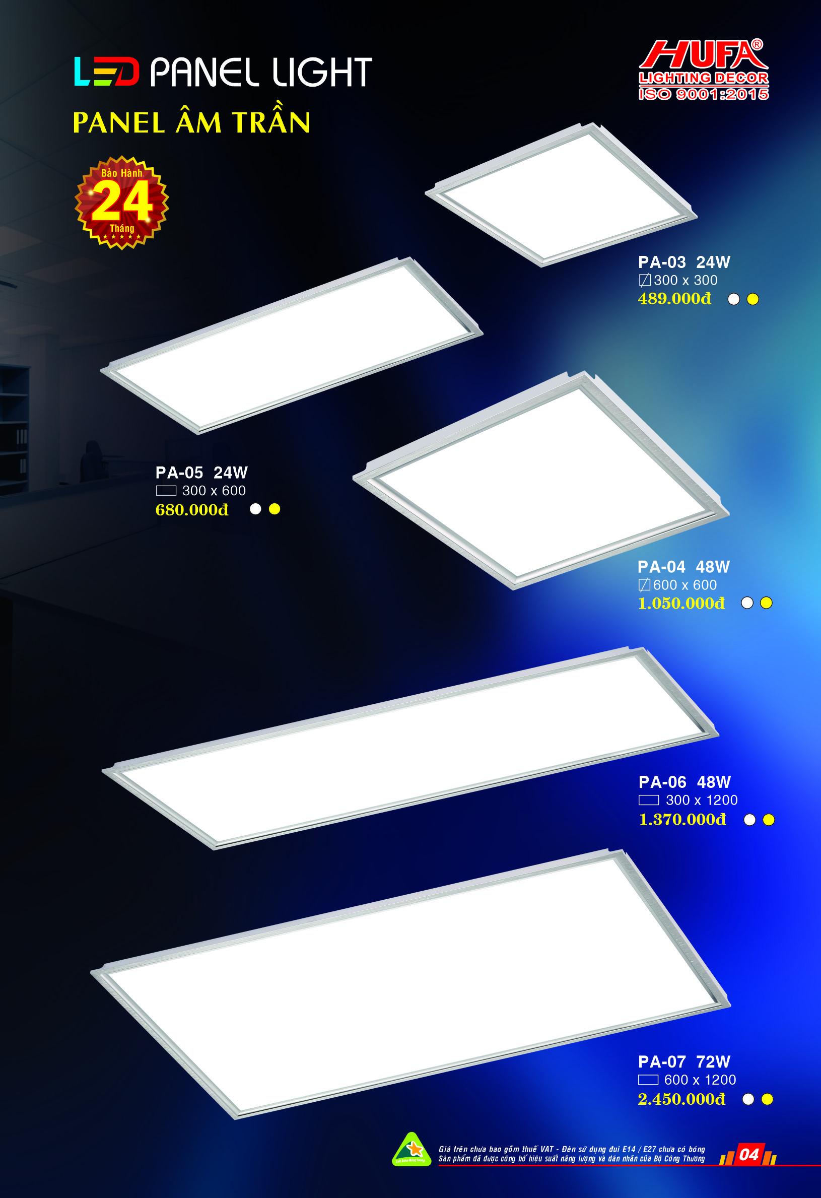 Đèn panel âm trần nhiều kích thước
